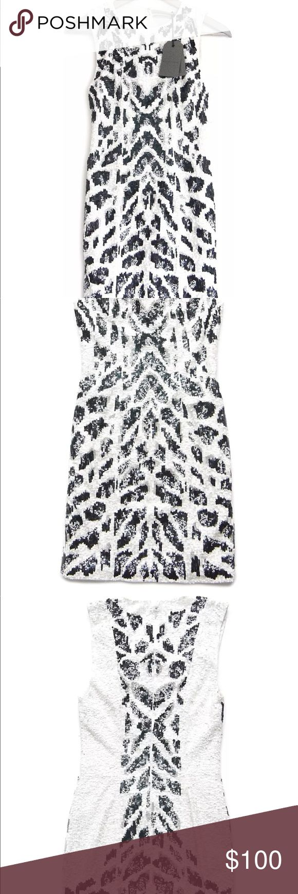 Pala allsaints sequin leopard dress U.K. 10 US 6 Sequin Embellished Leopard Black white silver Above the knee Fits more like a 4 not a 6 Gorgeous allsaints Dresses Mini