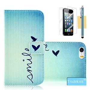 iPhone 5 Case, iPhone 5S Case, Tradekmk(TM) Cute Little Love Shape Pattern PU Leather Slim Fit Folio Wallet Stand Shell Cover Case with Card Holders Compatible with Apple iPhone 5/5S/5G[+Stylus+Screen Protector+Cleaning Cloth]