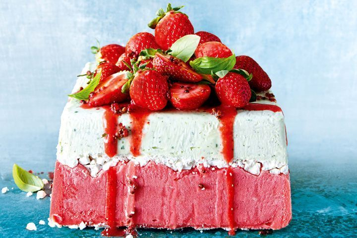 Strawberry and basil ice-cream cake with meringue and pink peppercorns | taste.com.au