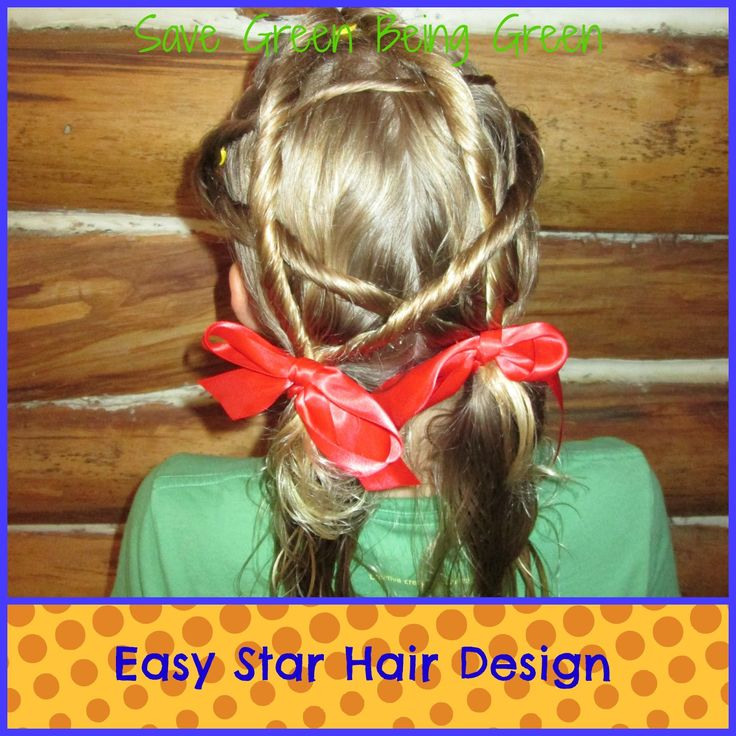 Easy Star Hair Design for Girls - fun idea for Memorial Day or July 4th