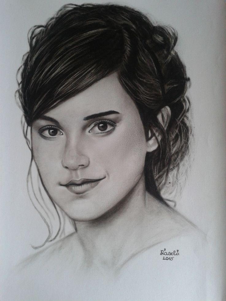 Mű címe: Emma Watson portré.  Száraz ecset technikával készült olaj festmény Médium: B2 pasztell papír Ország: Magyarország Művész: Árgyelán László