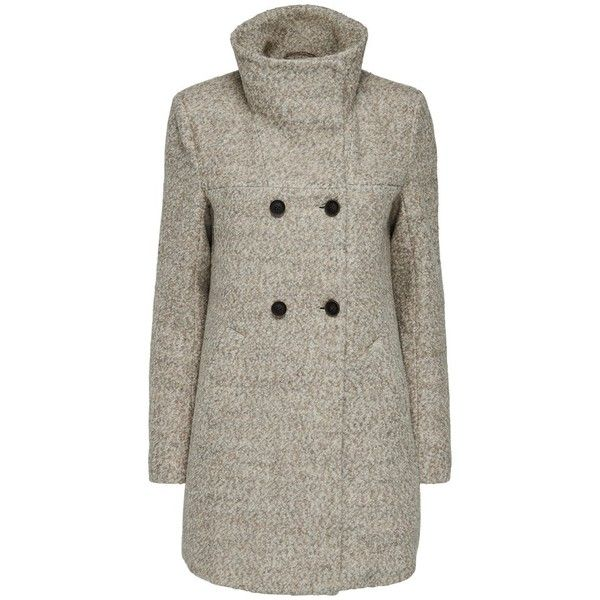 Only Wool Coat ($79) ❤ liked on Polyvore featuring outerwear, coats, double-breasted wool coat, double breasted woolen coat, brown wool coat, brown double breasted coat and duffle coat