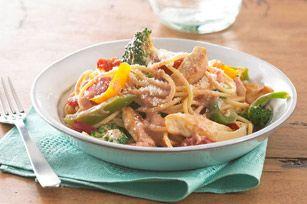 Spaghettis crémeux au poulet et aux tomates