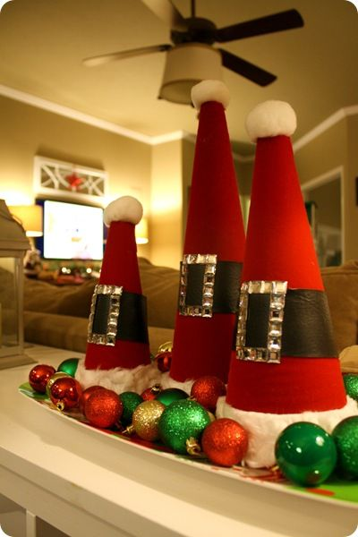 santa hat craft: Cute Christmas Trees Ideas, Christmas Time, Santa Hats, Cute Ideas, Santa Cones, Hats Crafts, Crafts Chick Christmas Ideas, Crafts Diy Crafts Ideas, Christmas Tables Decor To Make
