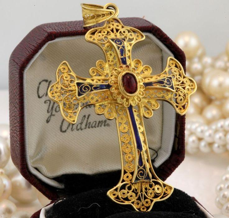 Antique C. 1880 Victorian 18k Gold Blue Red Enamel Lavaliere Cross Pendant! #Lavaliere