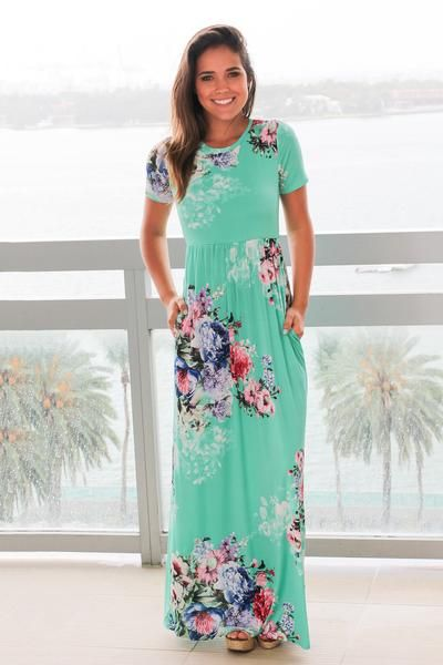 Mint and Pink Floral Maxi Dress with Short Sleeves in 2018   Fashion    Pinterest 203de6e2e6