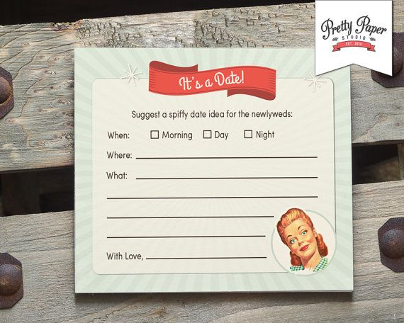 Date Night Suggestion Cards - 50s Housewife Bridal Shower Game // INSTANT DOWNLOAD // 1950s Retro Bridal Shower Game // Printable Digital