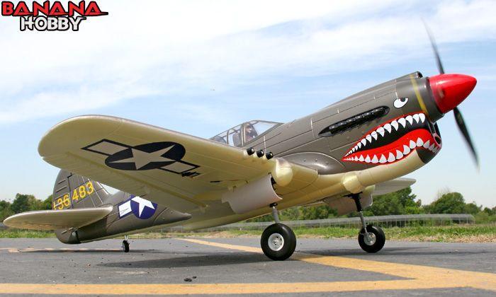 BananaHobby - 6 CH FMS 2.4GHz Giant Green P-40 Warhawk Radio Remote Control Electric RC Warbird Airplane ( ARF )