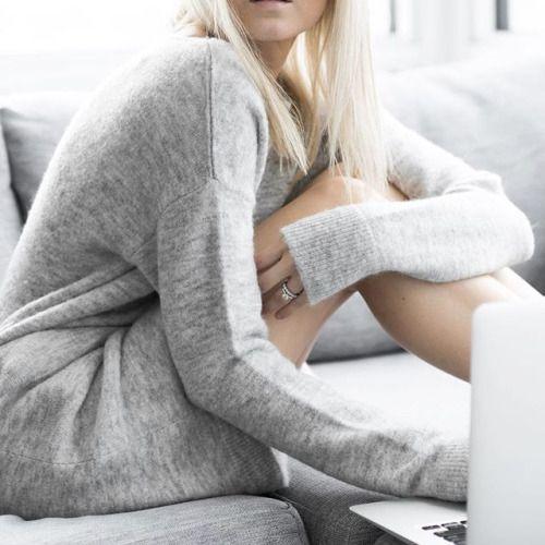 Coastal Style: Shades of Grey Jumper, Grey Sweater, Grey Fashion, Womens Fashion, Fashion Shoes, Silver Blonde, Look At You, Get Dressed, Autumn Winter Fashion