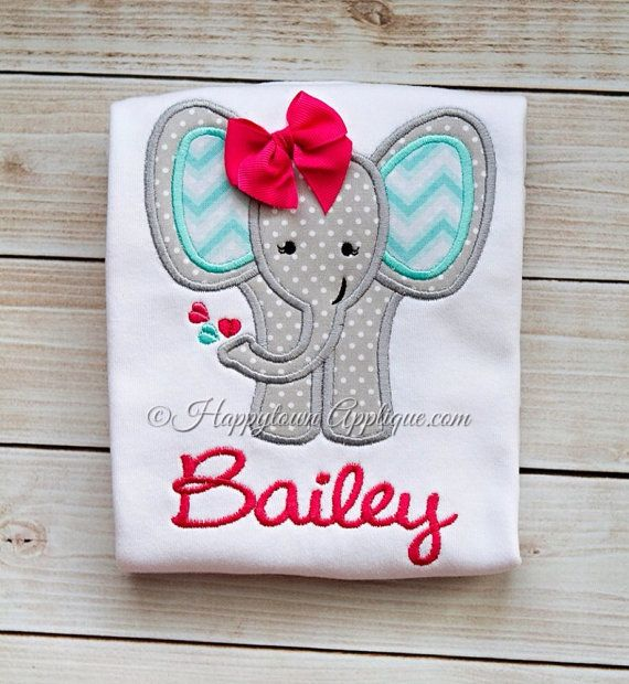 Elephant Girl Machine Embroidery Design by HappytownApplique, $4.00