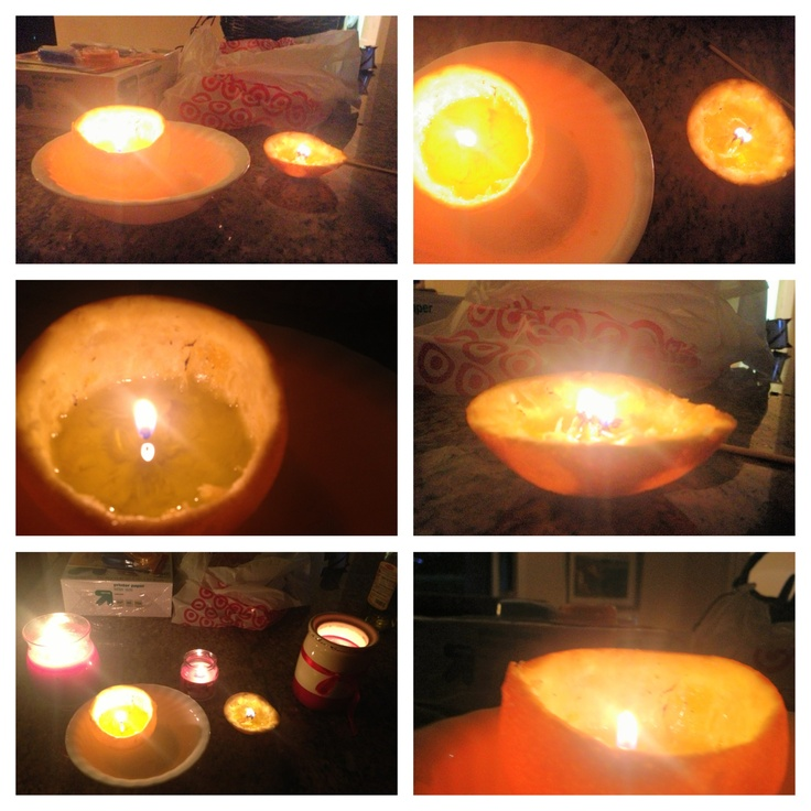 Candle i made out of an orange!!!!  To make it cut and orange in half clean out all the orange and keep the stem in the center. Then fill half way with olive oil and let it burn baby burn! Your house will smell wonderful!