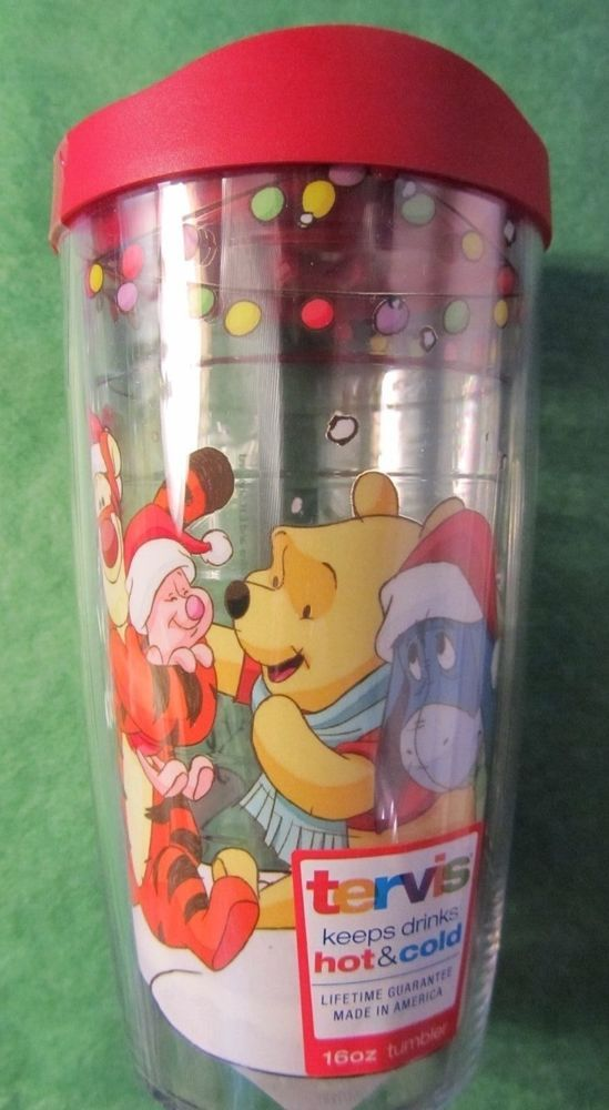 1 - DISNEY TERVIS CHRISTMAS WINNIE THE POOH & FRIENDS 16oz HOT COLD TUMBLER- NEW
