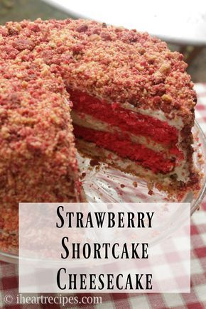 How to make a easy homemade strawberry shortcake cheesecake with 4 layers of strawberry cake, creamy cheesecake, whipped cream cheese frosting, and crunchy strawberry flavored cookie crumbles! Hey …