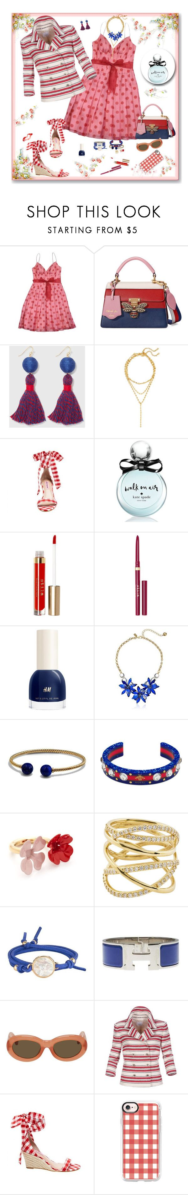 """Pattern Mixing"" by deborah-518 ❤ liked on Polyvore featuring Kay Unger New York, Gucci, Draper James, BaubleBar, Betsey Johnson, Kate Spade, Stila, H&M, David Yurman and Marni"