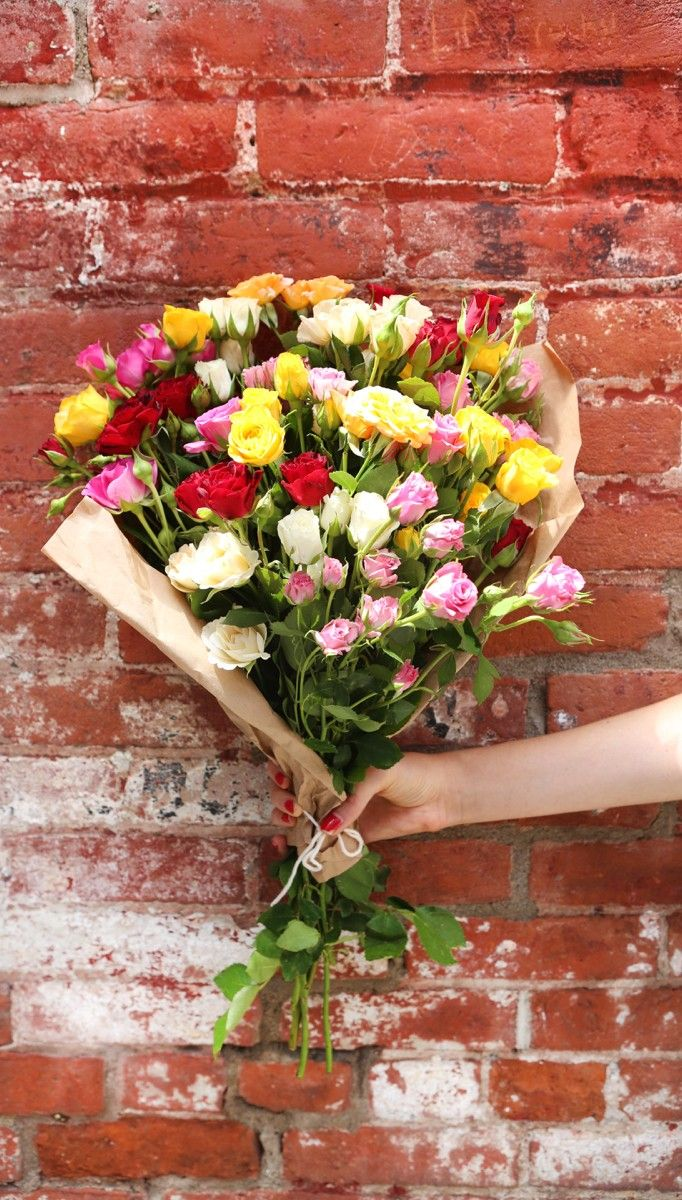451 best brilliantblooms images on pinterest beautiful flowers pretty bouquet of flowers against brick wall izmirmasajfo Images