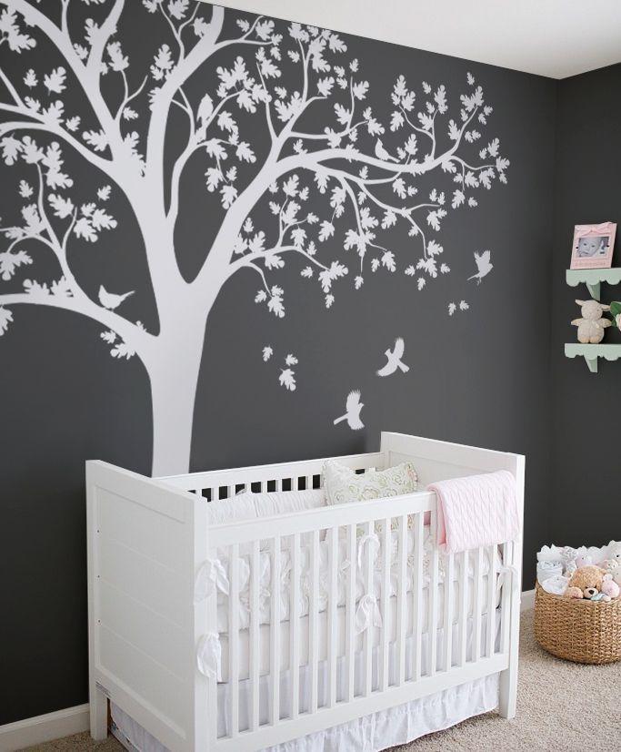White Tree Nursery Design Cool Kid Room Family Home Wall Decal Big Tree Design Tree Family N Nursery Room Decor Nursery Wall Decals Baby Boy Rooms