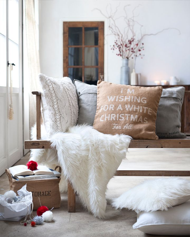 38 best CHRISTMAS DECOR IDEAS images on Pinterest   Christmas time     Cute H Christmas Pillow  I m Wishing for a White Christmas For All  in  White  Sand   Grey
