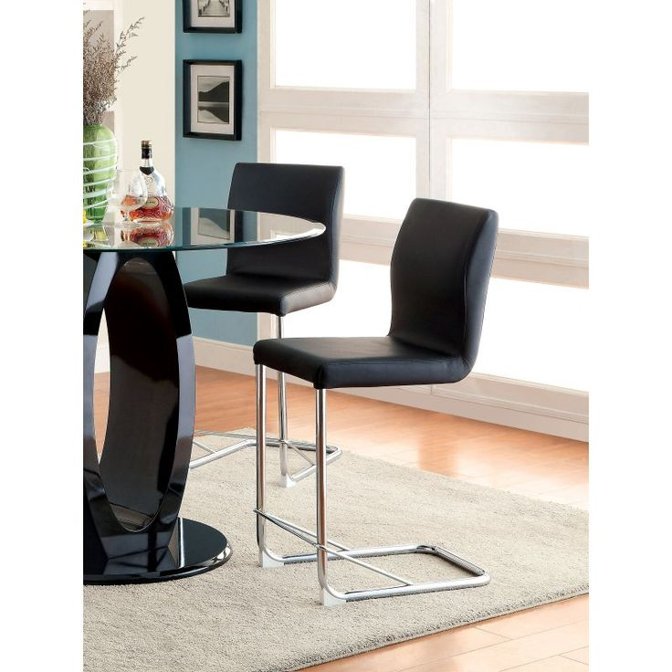 Furniture of America Damore Contemporary Counter Height Padded Leatherette Dining Chair - Black - IDF-3825BK-PC