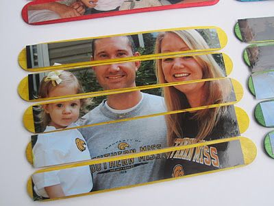 Cute puzzle idea to make with the grandchildren. I think I'll try making this with Harrison, and then later Sarah Grace can play with it as one of her first puzzles.