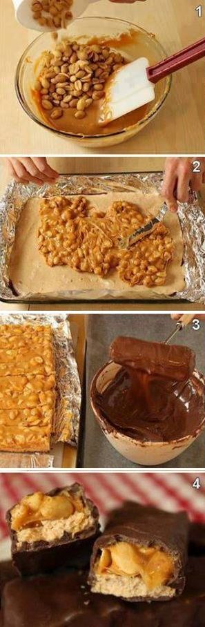 DIY Homemade Snickers Bars.. YUM