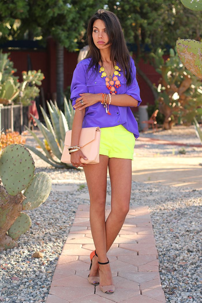 VIVALUXURY: SHORT TEMPERED  Sunburst ombre bubble statement necklace via ILY Couture   J Crew neon yellow shorts  & silk blouse - similar here & here   Zara heels & handbag   ASOS claw cuff bracelet   Crystalized nail ring via Minusey