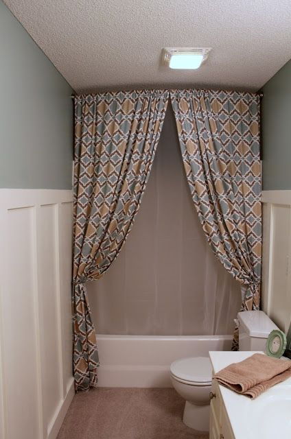 Best 25 two shower curtains ideas on pinterest curtains for Diy bathtub liner
