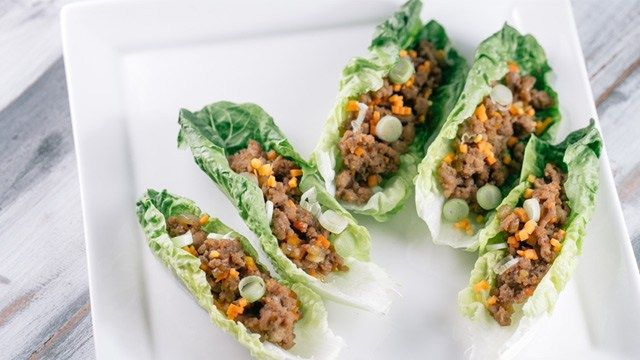 The ground pork is made extra flavorful with Asian condiments such as soy sauce and oyster sauce.