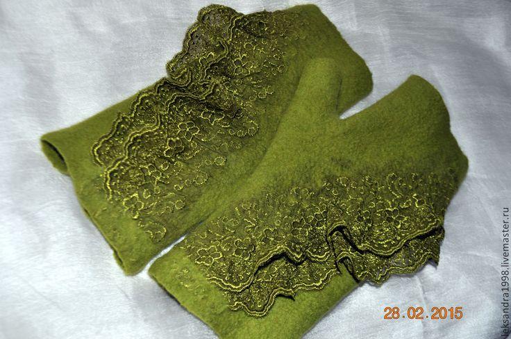 """Валяные митенки """"Весны дыханье"""" - ярко-зеленый, однотонный, митенки валяные, валяние из шерсти"""