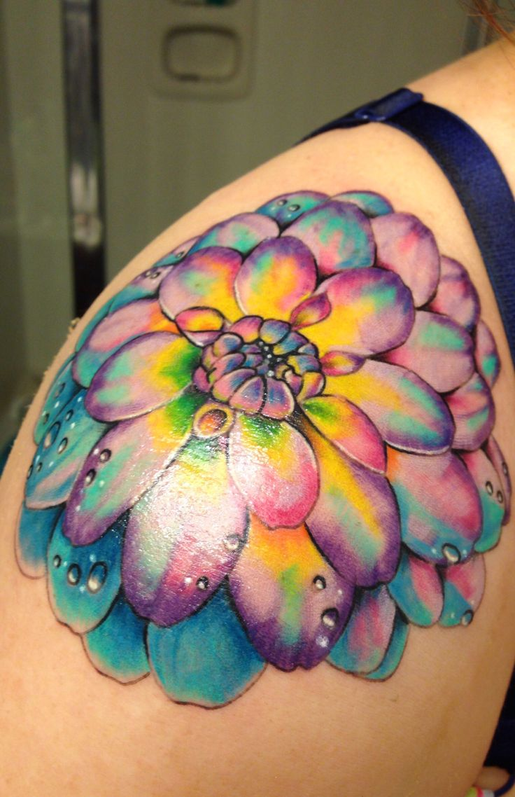 Dahlia tattoo love the watercolor typer brightness
