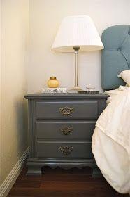 Spray painted grey nightstand (Rustoleum Dark Grey Gloss)