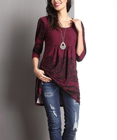 Another great find on #zulily! Plum Lace-Print Empire-Waist Tunic #zulilyfinds
