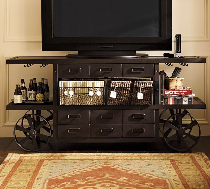 Pottery barn sheffield media cart steampunk living room for Steampunk living room ideas