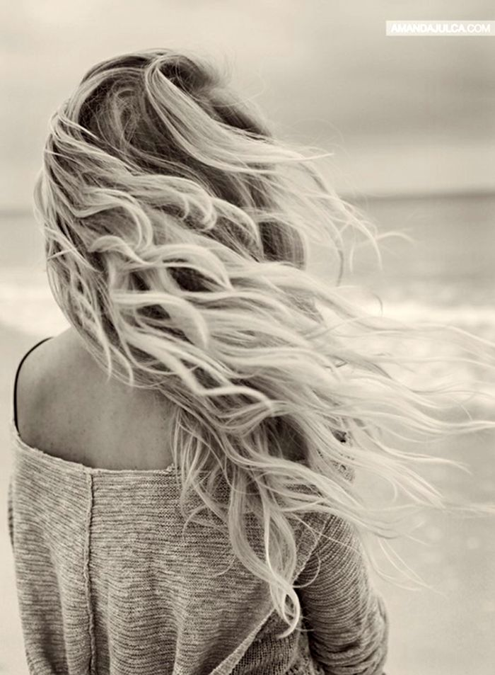 Spraying salt water on damp hair then sleeping in it will give you this beautiful, cozy, tousled hair look.