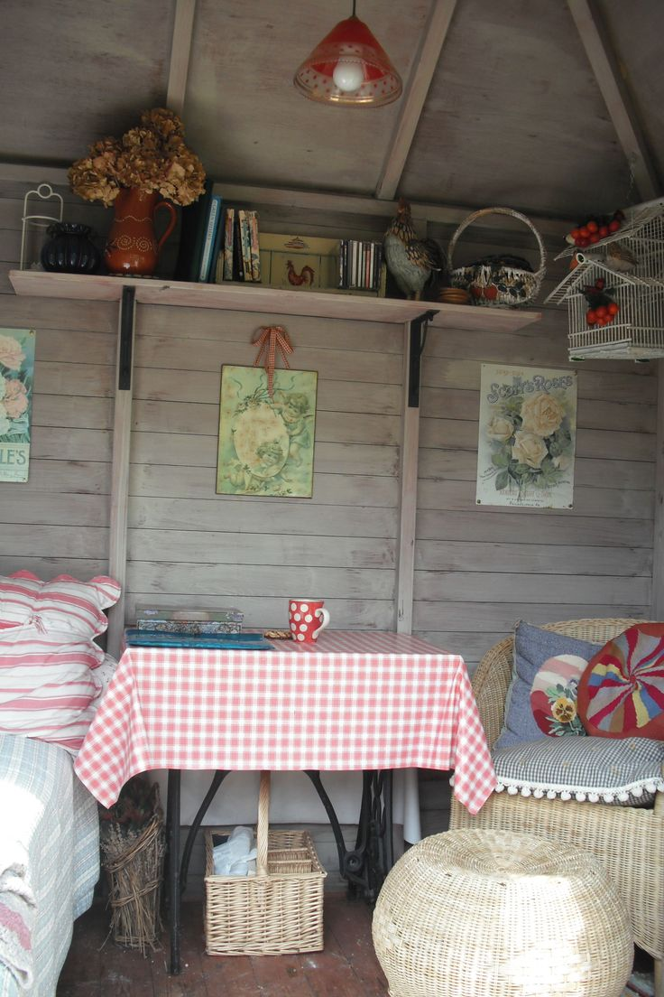 Inside the summerhouse.....a great place to get lost in a book!