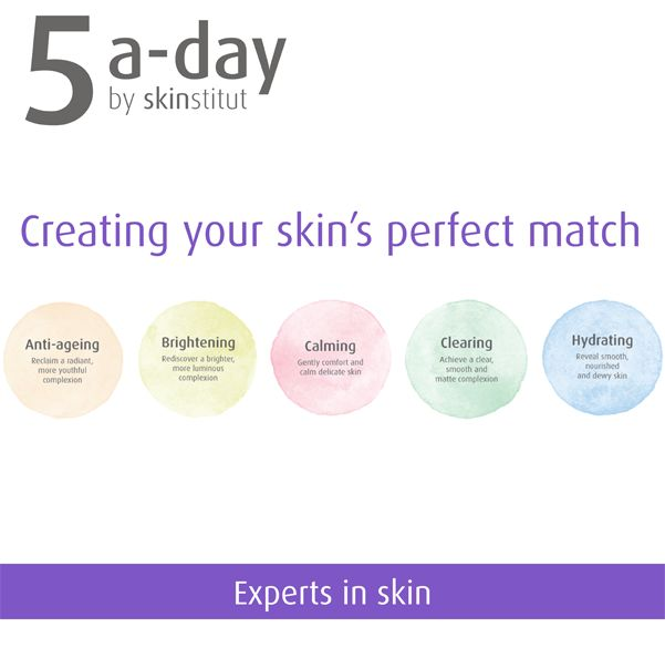 The 5 a-day program allows users to cover their skincare routine in 5 simple stages, to ensure radiant skin. By following the 5 a-day program and identifying how they would like to improve their skin, users can find their skins perfect match.