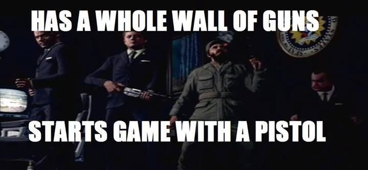COD Black Ops Zombies: Five. Very true because in the intro it shows a lot of guns but you start with a pistol