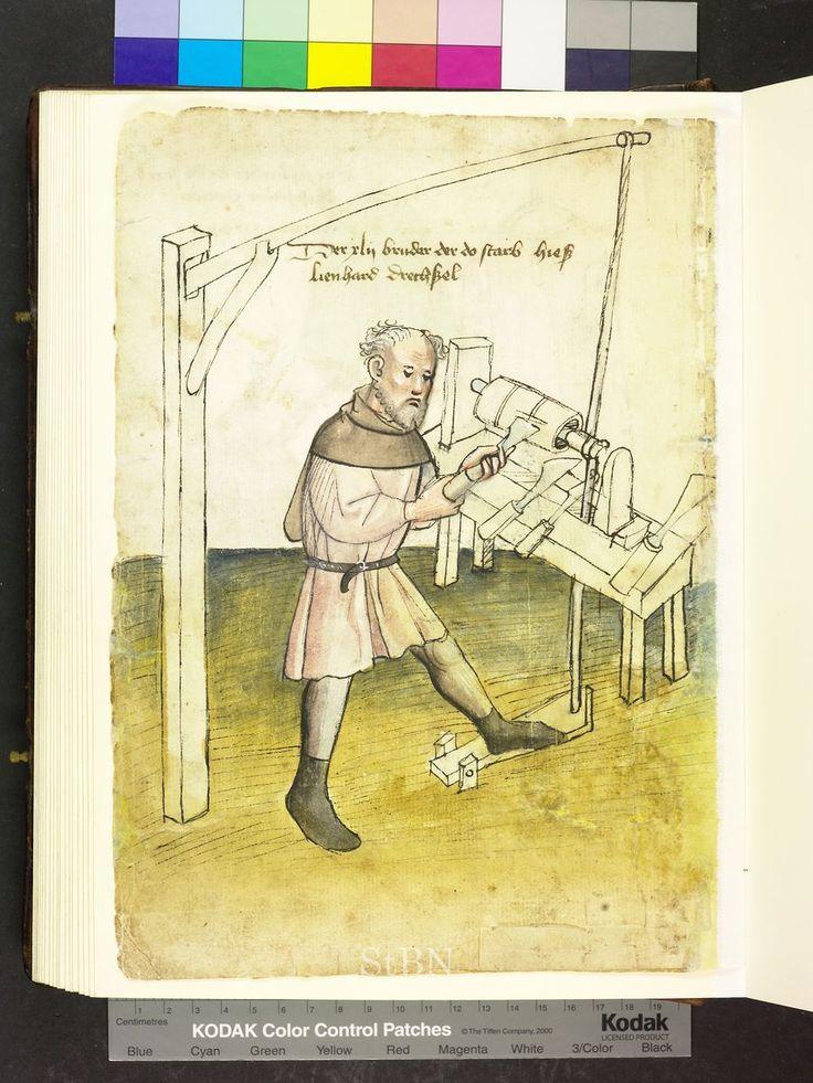 1425 woodoworker with lathe  Die Hausbücher der Nürnberger Zwölfbrüderstiftungen