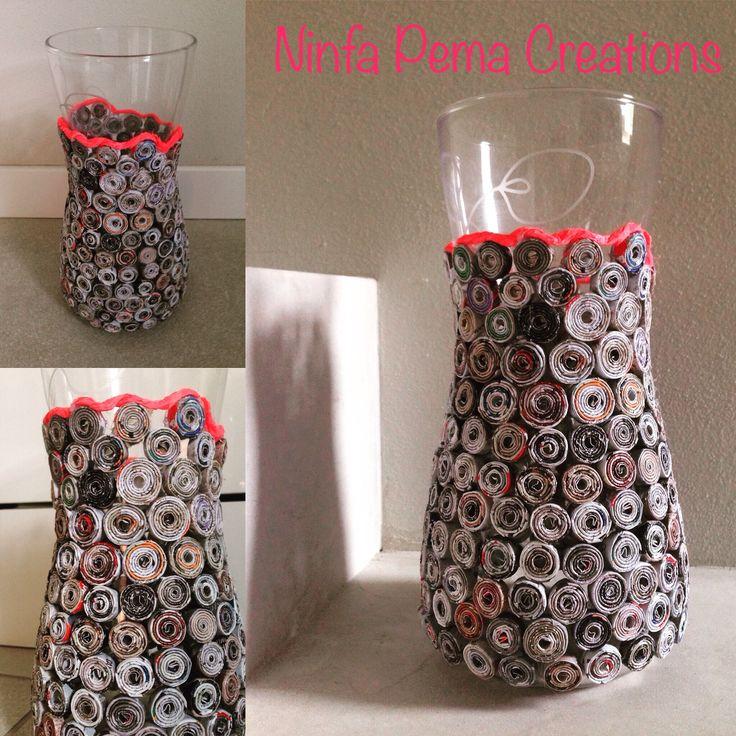 @ninfa_pema_hand_made_creations #NINFA PEMA CREATIONS Vaso con parta rotolata di giornale. Paper rolls vase by journal paper