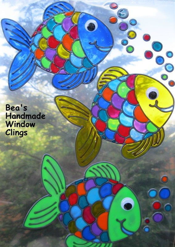 Bea's funky fish bathroom tile decoration window cling ...