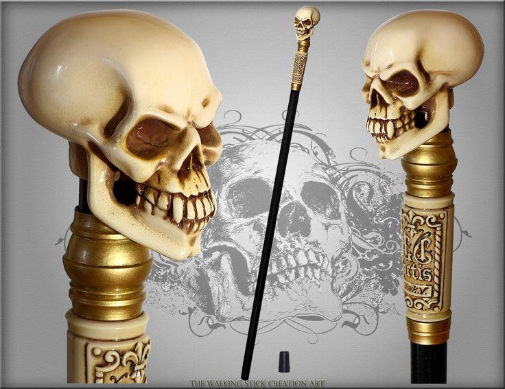 Skull Walking Stick Gothic Authors Made Bone Effect Handle