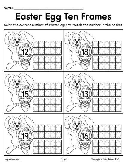 FREE Printable Easter Egg Ten Frame Worksheets Numbers 1-20 | School ...