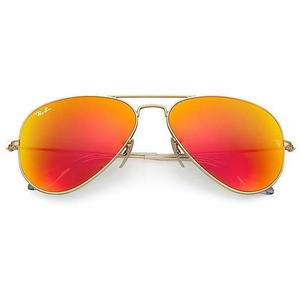 Ray-Ban Aviator Gold Sunglasses, Orange Flash Lenses - Rb3025 ($175) ❤ liked on Polyvore featuring accessories, eyewear, sunglasses, gold sunglasses, mirror lens sunglasses, mirrored sunglasses, gold mirrored aviators and aviator sunglasses