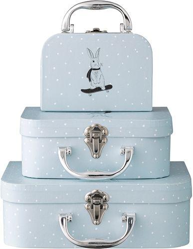 Bloomingville, pappväskor, 3 pack, ljusblå oppbevaringsbokser ...