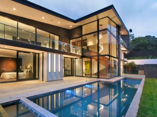 Modern New Zealand Glass House Frames Luxurious Features Inside And Out