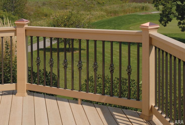 Deck Railing Design Ideas 1 of 14 Others Majestic Log Cabin Deck Railing Designs With Wrought Iron Deck Railing With Wood Handrail And Wood Deck Board Spacing 945x639jpg 945639 Pi