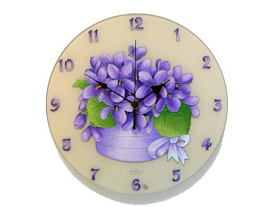 Violet Hand Painted Silent Glass Walclock, Gift for Womenr, Purple home decor,  floral decor, Purple wall clock