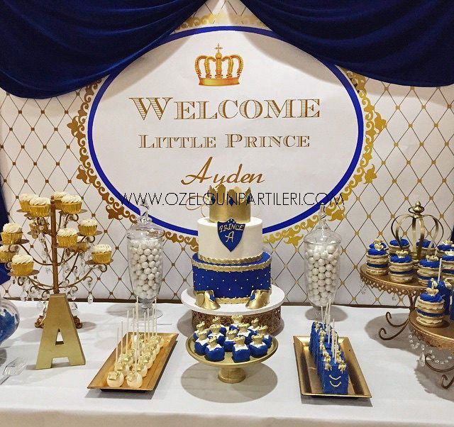 Royal Blue Gold Prince Party Decoration Baby Shower Sign Banner PDF File