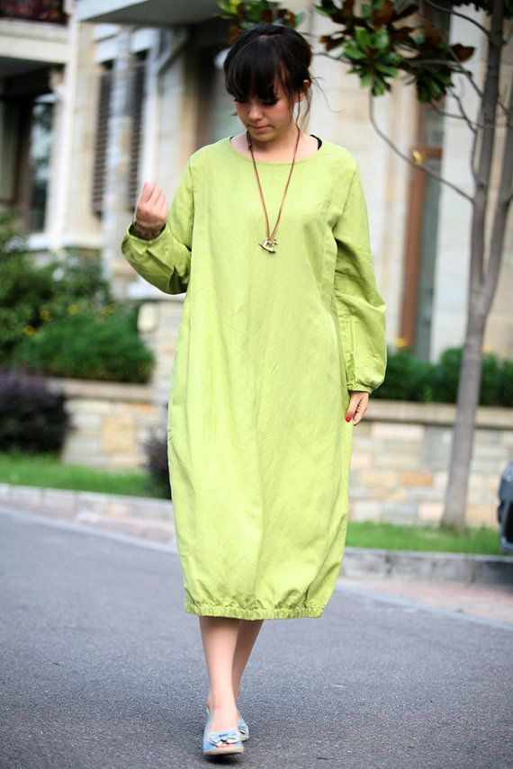 grass green linen dress(more colour and size choice)