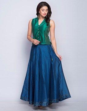 Silk Cotton Printed Skirt Set