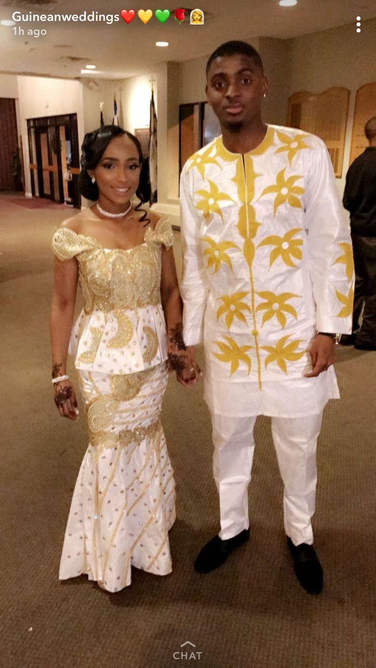 White and gold couple bazin | Tenue de mariage africain, Mariages africains, Tenue africaine ...